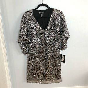 JS Boutique Long Sleeve Silver Sequin Dress 12